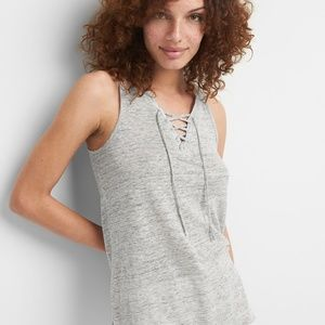 GAP | Linen Lace Up Grey Tank
